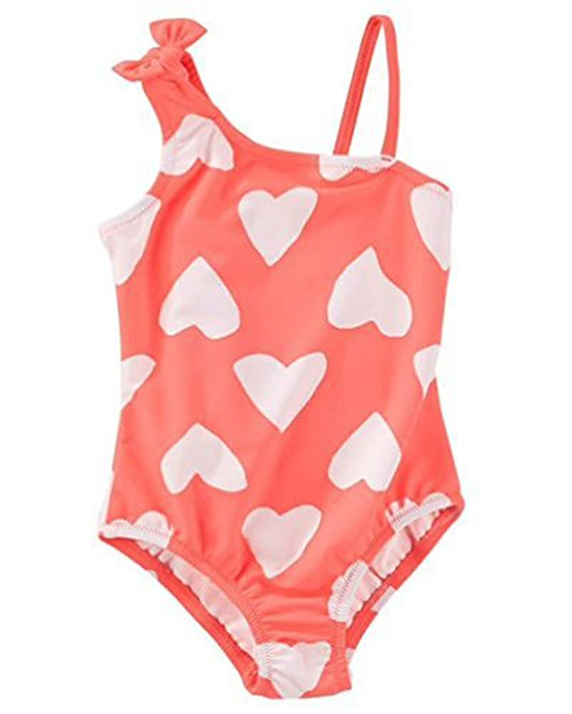 5T Osh Kosh BGosh Little Girls Toddler Heart Print One-Piece Swimsuit