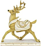 8 Inch White Christmas Prancing Reindeer Collectible Xmas Figurine