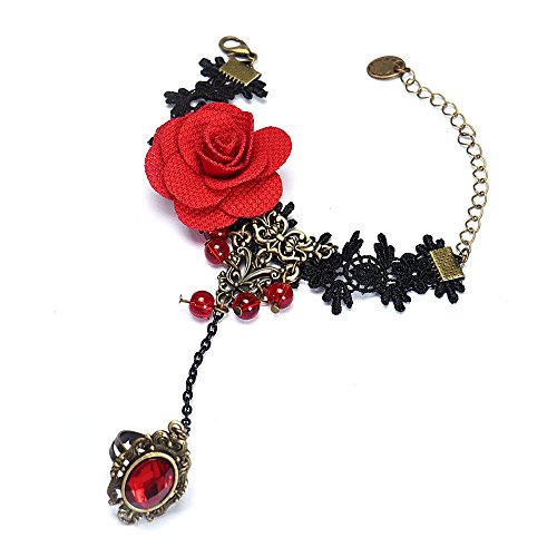 Halloween Decoration Bracelets, Handmade Bead Retro Black Lace Vampire Slave Bracelets with Fabric Flower and Ring Gothic Style Costume Jewelry for Party (Handmade Halloween Decorations)
