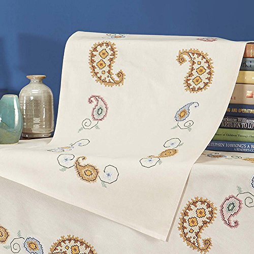 Nob Hill Paisley Dreams Table Runner Stamped Cross-Stitch Kit