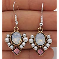 Jaywine2 925 Silver Plated Hook - 1.7 Square Opal Crystal Pearl Beads Prom Earrings #17