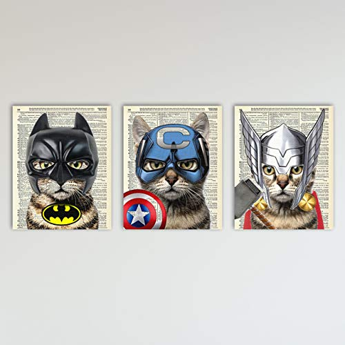 Super Hero Cat 3 Piece Set - Batman, Captain America & Thor Cat Art Prints - Kids Bedroom Decor on Vintage Dictionary Book Pages - Fun Children's Room Decor - 8x10 inches each, Unframed ()