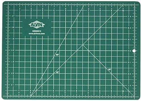"Alvin GBM0812 GBM Series 8 1/2 inches x 11 inches Green/Black Professional Self-Healing Cutting Mat(Durable Cutting Mat 8 1/2"" x 12"") from Alvin"