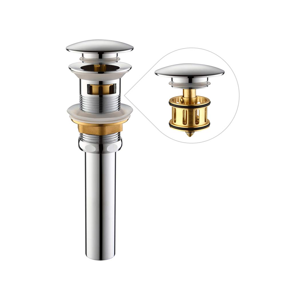 HOMELODY Push and Seal Pop Up Drain Stopper with Removable Brass Strainer Basket, Bathroom Faucet Vessel Vanity Sink Drain with Overflow, Polished Chrome, HL8018BCP