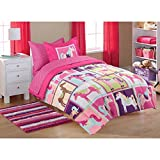 5pc Girl Pink Purple Horse Pony Twin Comforter Set (Bed in a Bag)