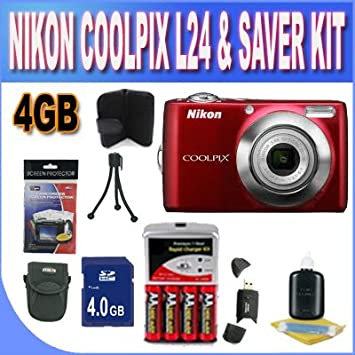 Amazon Com Nikon Coolpix L24 14 Mp Digital Camera With 3 6x Nikkor Optical Zoom Lens And 3 Inch Lcd Red W 4gb Sdhc Memory Set Of Rechargeable Batteries Ac Dc Charger Usb