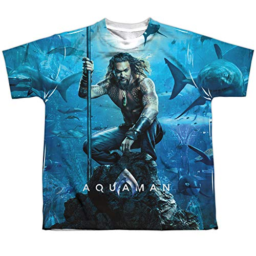 - Aquaman Movie Poster Youth or Boy's Sublimated T Shirt, Small