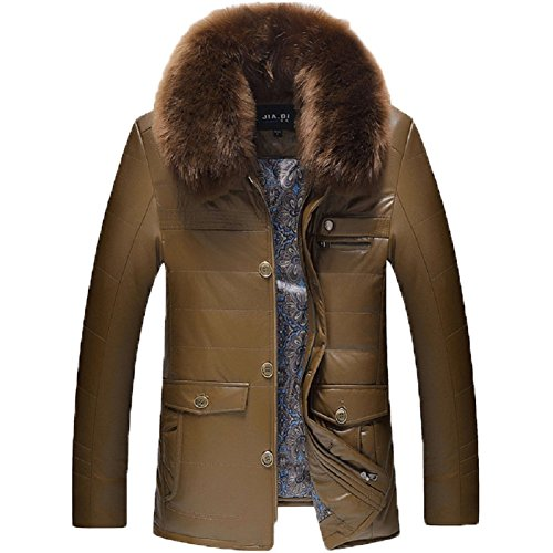 Bomovo Herren Lederjacke Jacke Kunst Leder Dick Gesteppt Warm