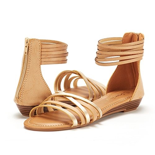 Strap Women's Flat NUDE DREAM GOLD Fashion 01 Ankle JUULY PAIRS Sandals 755YqwF