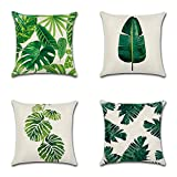 Heth Linen Decorative Cushion Cover Throw Pillow Case for Bedroom Sofa Office With Invisible Zipper Set of 4, 45x45cm (18'x18') (Tropical Plant 01)