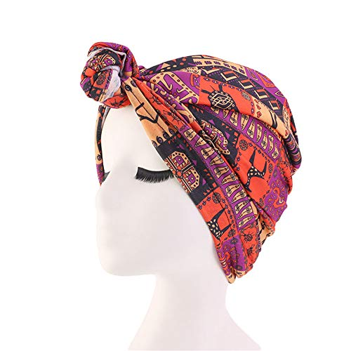 New WoTurban Hat Bohemian Style Top Knot Turban African Twist Headwrap Ladies Hair Accessories India Hat Muslim Scarf Cap Orange red fits All