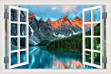 HLJ ART Removable 3D Windows Landscape Wall Mural Stickers Home Decor Prints Painting Artwork WS01 (A001, 24x36inchx1panel)