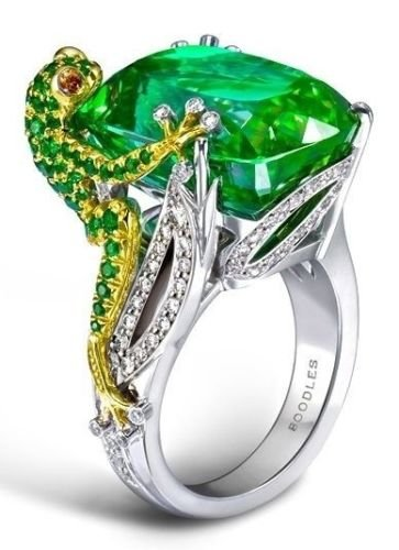 Yupha Fashion Women Jewelry Gemstone Nimals Green Crystal Frog Silver Wedding - Frog Gem