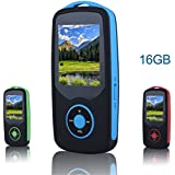 FecPecu Music Player, 16GB Bluetooth MP3 Player Hi-Fi Sound 50 Hours Playback, Portable Audio Player Expandable Up to 64GB (Blue)