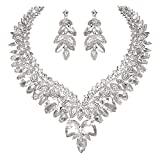 YOUFIR Bridal Clear Austrian Rhinestone Crystal Leaf Necklace Earrings Jewelry Set Gifts for Wedding Dress (Clear)