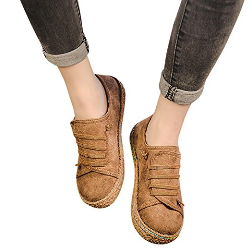 Haoricu Sport Shoes Women Soft Flat Sneakers Ankle Single Shoes Female Suede Leather Lace-Up Ladies Boots (US:8, Khaki)