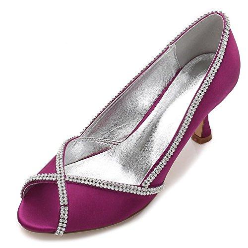 Costura Diamantes De Boda Las 14 E17061 Tacón Toe Mujeres Purple Encaje Heel L Sandalias Zapatos Bajo yc Peep Satin tEqwxZa