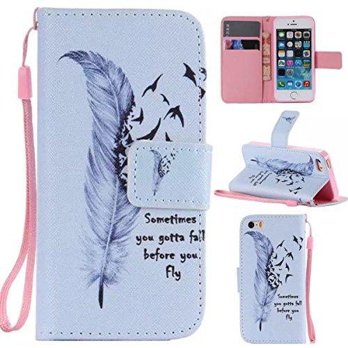 iPhone 5C Coque , Apple iPhone 5C Coque Lifetrut® [ Wild Goose Feather ] [Emplacement de carte] Pu cuir flip stand Wallet Case antichoc anti-rayures de couverture Avec longe sangle Coque Etui pour App