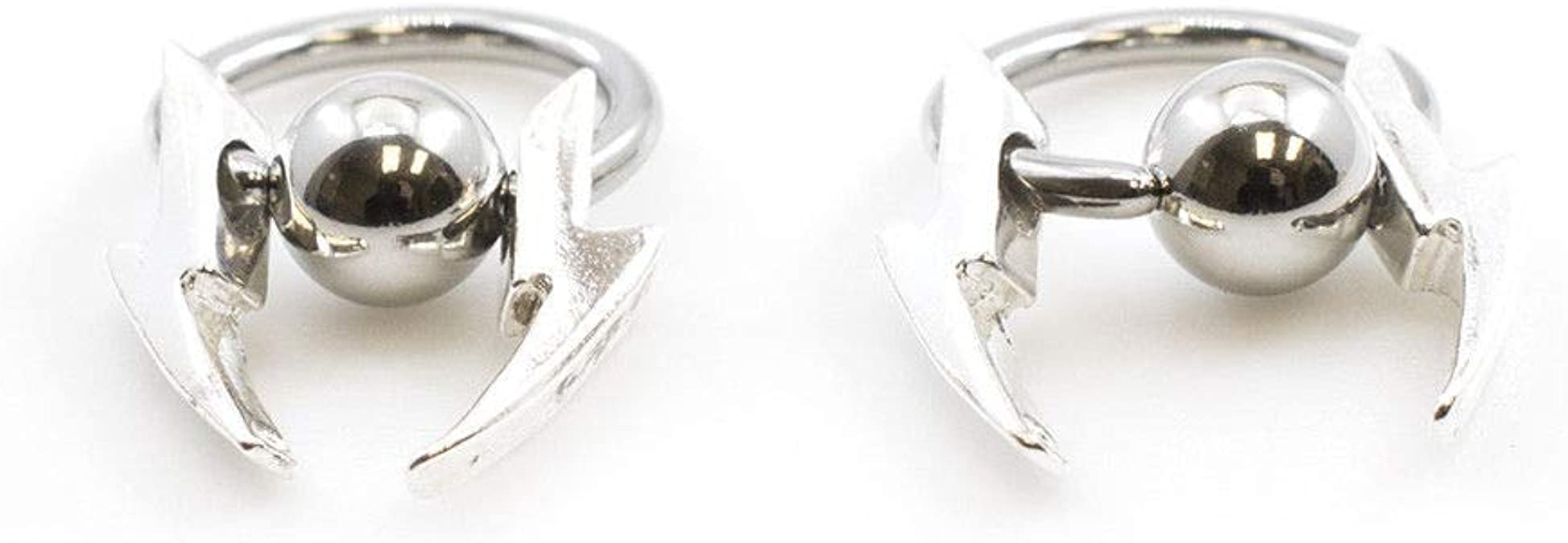 """Nipple Ring Captive Jewelry With Lightning Bolts Style 14g 3//8/"""" Set Of 2"""