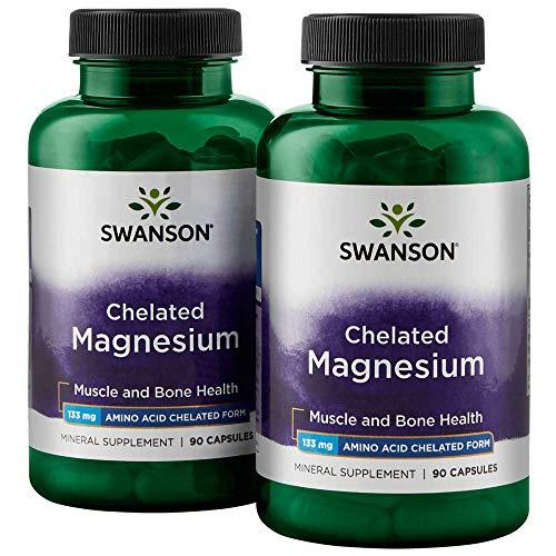 Swanson Chelated Magnesium 133 Milligrams 180 Capsules 2 Bottles