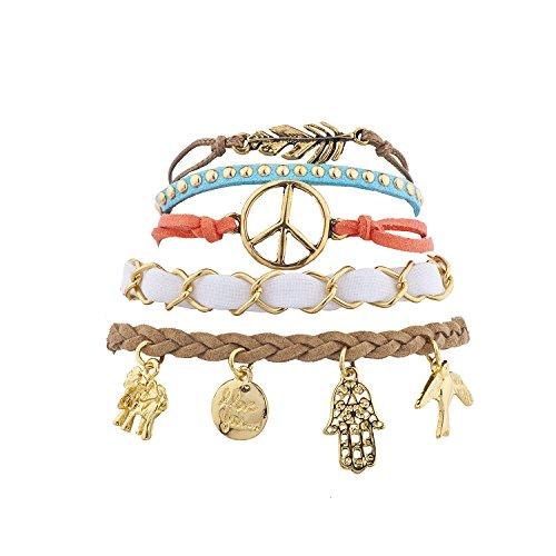 Lux Accessories Gold Tone Boho Bright Charm Novelty Arm Candy Bracelet Set 5PC (Sign Bracelet Suede Peace)