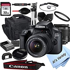Best Epic Trends 51qTqwM2y0L._SS300_ Canon EOS 3000D (Rebel T100) DSLR Camera with 18-55mm f/3.5-5.6 Zoom Lens + 32GB Card, Tripod, Case, and More (18pc…