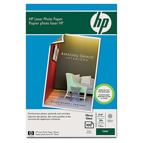 Hewlett Packard - HP Color Laser Photo Paper, 7.5 mil, 220gsm, Glossy , 4