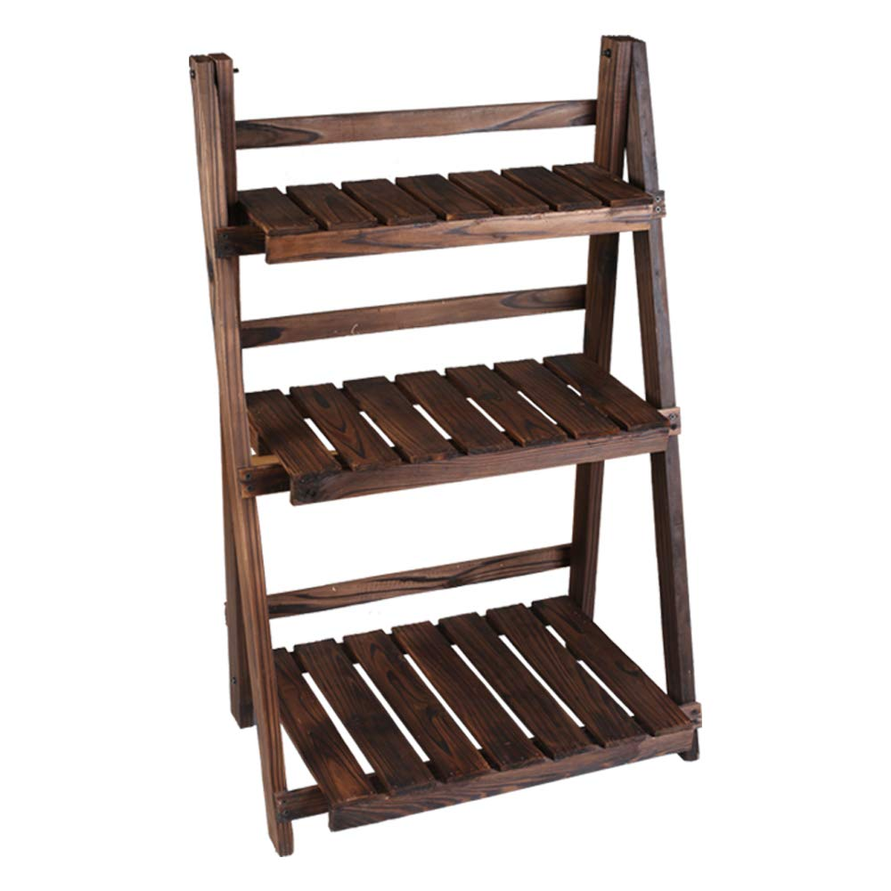 3 Tier Folding Wooden Plant Stand with Pot Shelf Planter Organizer Stand Display Rack for Indoor Outdoor Garden Greenhouse Freestanding Foldable Shelf Rack/Decorative Planter Pot Display Stand by U-Eway