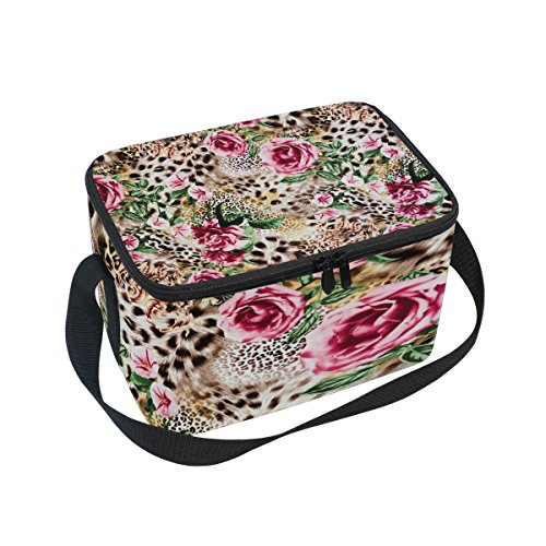 Bettken Striped Leopard Skin and Flower Photo Custom Insulated Lunch Bag/Box/Organizer/Holder/Container Lunch Ice Pack with Shoulder Strap for Work,School and Picnic