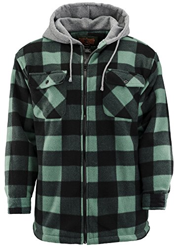 Plaid Hooded Coat (Trail Crest Mens Buffalo Plaid Classic Sherpa Lined Zip Up Hooded Shirt Jacket )