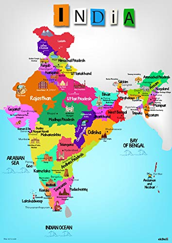 india map hd images Ekdali India Map With Monuments Paper 11 7 16 5 Inch india map hd images