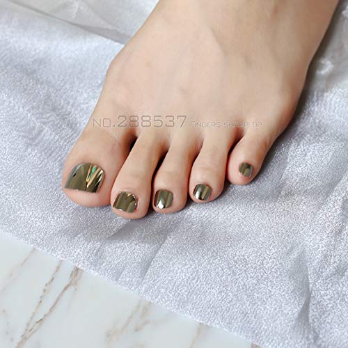 - 24 Pcs Personality Metal Fake Toenails Pure Sliver Light Gray Punk Wind False Toenails Short Full Artificial False Toes Silver