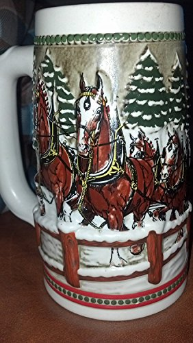 - 1984 Budweiser Beer Stein Holiday Stein Clydesdales As They Crossed Covered Bridge