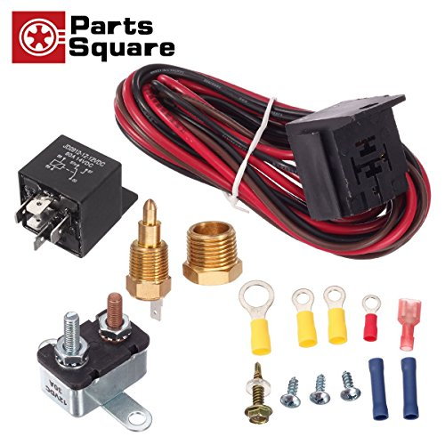 PartsSquare 185 To 200 Degree Electric Fan Thermostat Sensor Temperature switch 50 amp Relay Kit