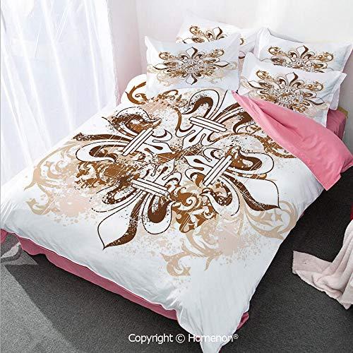 Homenon Fleur De Lis Decor Duvet Cover Set Twin Size,Ancient Antique Heraldry Cross Vintage Floral Swirls Traditi,Decorative 3 Piece Bedding Set with 2 Pillow Shams Brown White