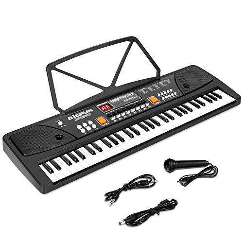 M SANMERSEN Piano for Kids, 61 Keys LED Display Piano Keyboard with Microphone Dual Speakers Kids Piano with AUX-in Jack Musical Instrument Music Book Bracket Piano Toys for 3-12 Years Old Boys Girls