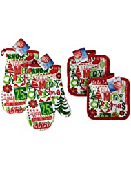 christmas oven mitts and pot holders set of 4 merry christmas