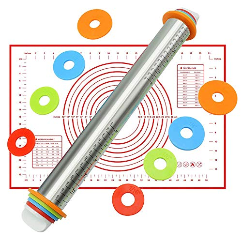 Stainless Steel Rolling Pin, TOONEV Adjustable Roller Pin with Silicone Baking Mat 4 Removable Thickness Rings for Baking Dough, Pizza, Pie, Pastries, Pasta and Cookies