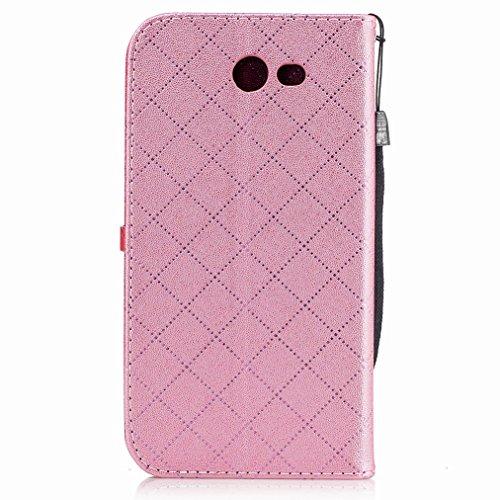 Yiizy Samsung Galaxy J7 (2017) Custodia Cover, Amare Design Sottile Flip Portafoglio PU Pelle Cuoio Copertura Shell Case Slot Schede Cavalletto Stile Libro Bumper Protettivo Borsa (Rosa)