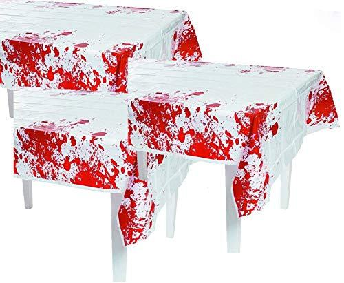 Fun Express Plastic Zombie Blood Table Cloth | 2-Pack (2 Count) | Party Decor | Great for Halloween Zombie-Themed Parties -