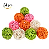 Biowow 24Pcs Mixed Color Decorative Spheres Vase Filler Ornament Decoration Handmade Wicker Rattan Balls,Wedding Christmas Party Garden Hanging Decoration