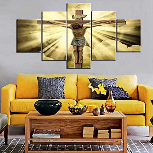 - House Decorations Living Room Wall Decor Jesus Crucified on the Cross Canvas Christ Religious Paintings 5 Panel Posters and Prints Pictures Home Decor,Giclee Artwork Framed Ready to Hang(60''Wx32''H)