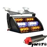 DT MOTO™ Amber White 18x LED Emergency Vehicle Warning Windshield Dash Strobe Light - 1 unit