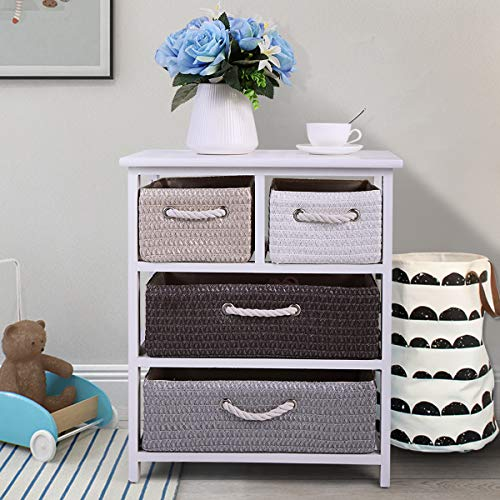 JAXPETY 4 Wicker Rattan Drawers Bedroom Bedside Nightstand Table Wooden Cabinet Storage Furniture New