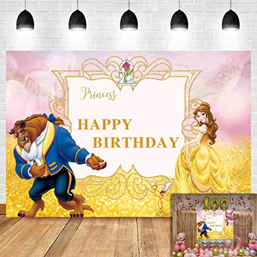 Beauty And The Beast Birthday Supplies (Beauty and The Beast Photography Backdrop for Children Happy Birthday Party Decoration Banner Photo Background Gold Princess Photo Booth Studio Props Supplies Baby Shower Dessert Table Vinyl)