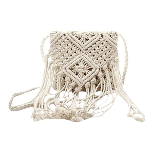 (Van Caro Women Crochet Beach Bag Fringed Bohemian Crossbody Shoulder Purse Cotton)