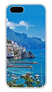 iPhone 5S Cases and Covers,Greece Island City Landscape Custom Slim Hard Case Snap-on PC Plastic Case Cover Shell for Apple iPhone 5S/5 White