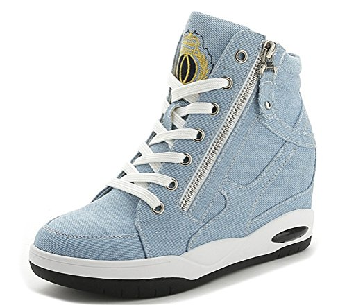 Hidden Heel Sneakers Women, High-Heel Casual Wedges Jeans Pumps Shoes 2 Colors Size 5.5-7.5 Pale Blue