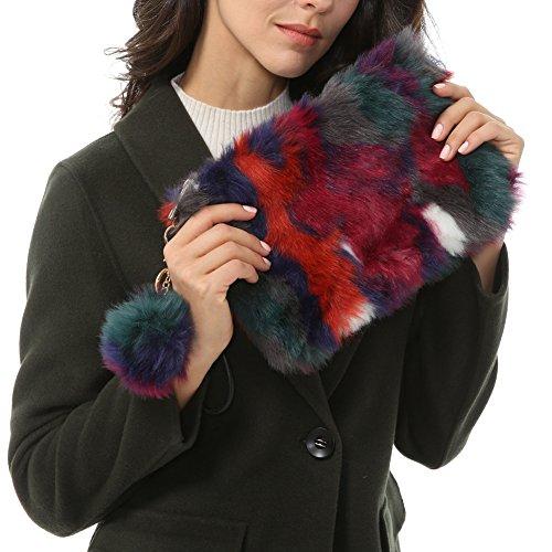 Patchwork Faux Leather (Dikoaina Fashion Women Faux Fur Handbag Evening Clutch Phone and Wallet Purse Lady Bag (Color03))