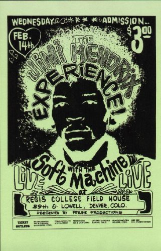 Jimi Hendrix Soft Machine Denver 1968 Concert Poster